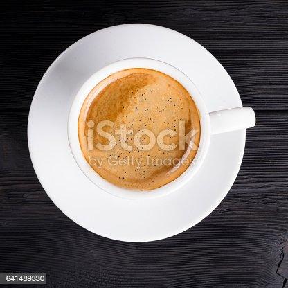 istock Overhead view of a freshly brewed mug of coffee 641489330