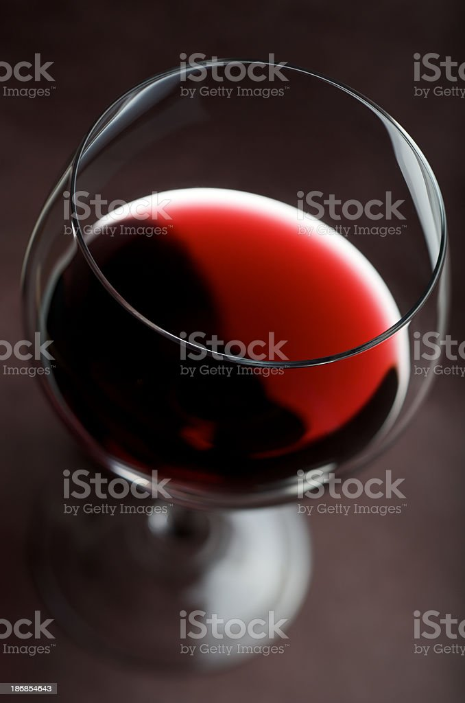 Overhead view of a glass of red wine royalty-free stock photo