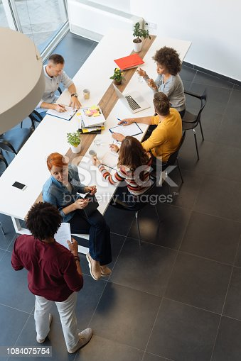 Overhead view of a group of business people in the office