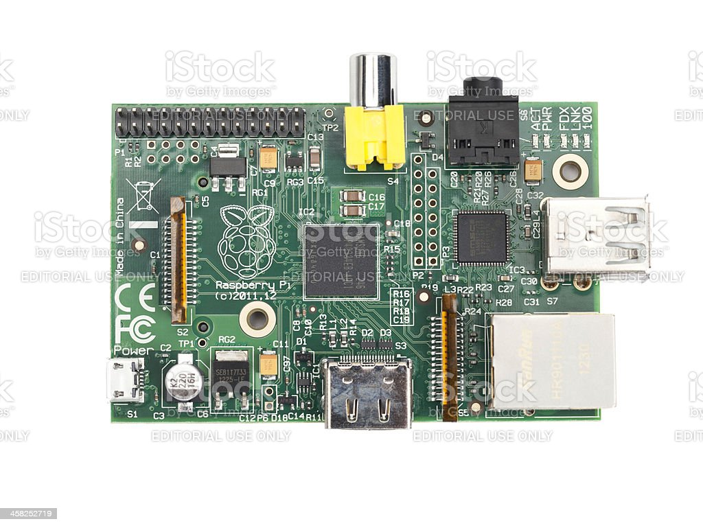Overhead View of a Raspberry Pi Circuit Board stock photo