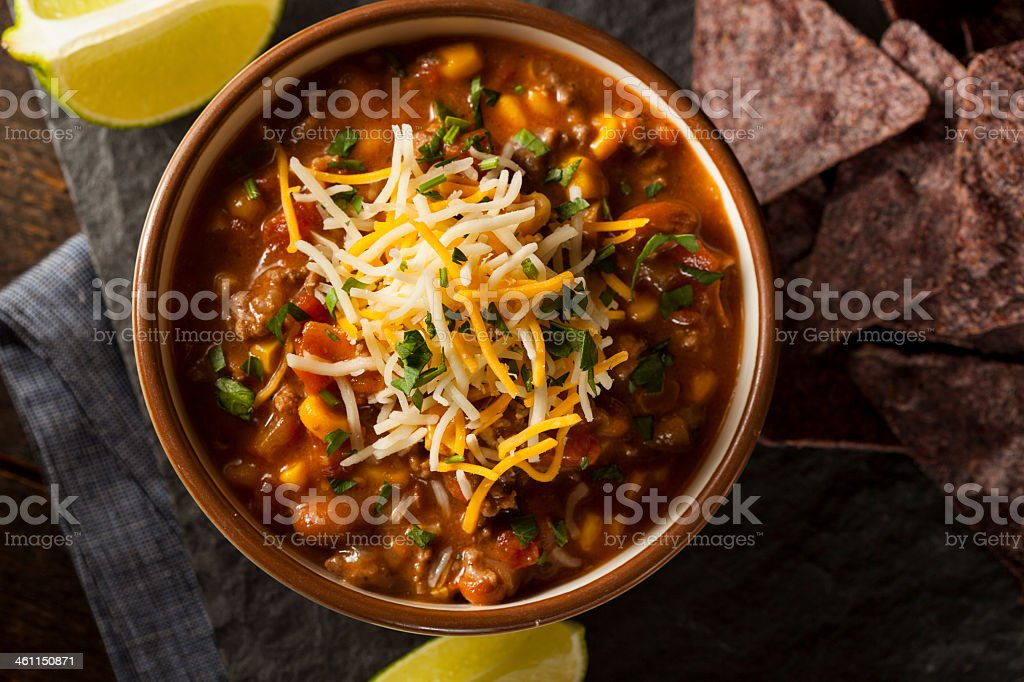 Overhead view of a Southwestern Santa Fe Soup in a bowl stock photo