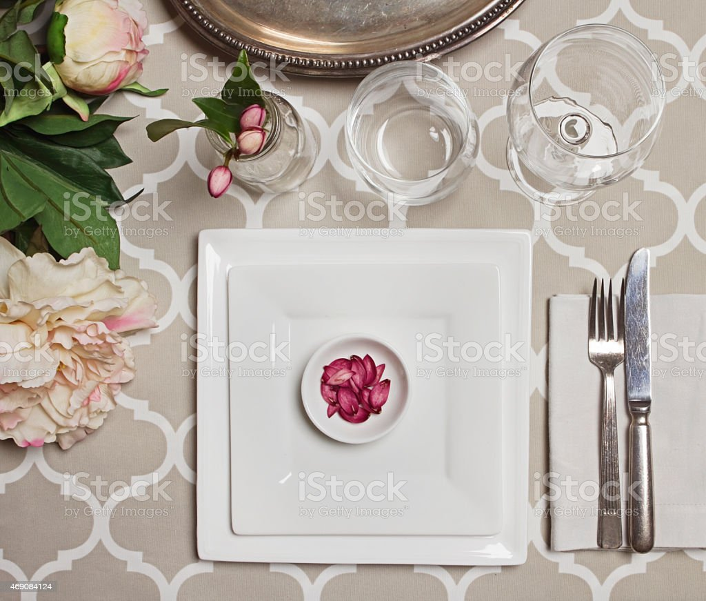 Overhead view of a vintage moroccan wedding reception table sett stock photo