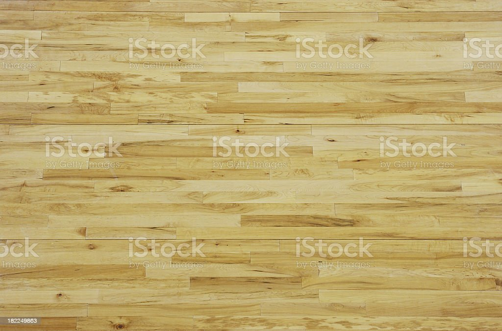 Overhead View of a Wooden Basketball Floor stock photo