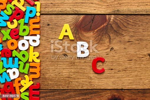849181972istockphoto Overhead view of ABC by colorful alphabets on wood background 849189376