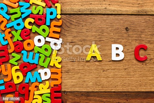 849181972istockphoto Overhead view of ABC by multi colored alphabets on wood 849188596
