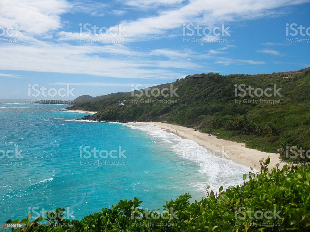 Overhead View of an Exclusive Caribbean Beach stock photo