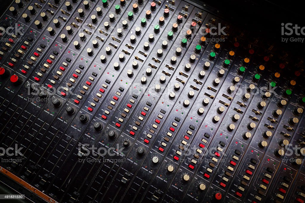 Overhead View of Analogue Studio Mixing Desk royalty-free stock photo