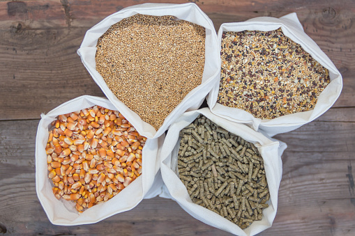 overhead view of bags with grains and pellets for sale at the forage
