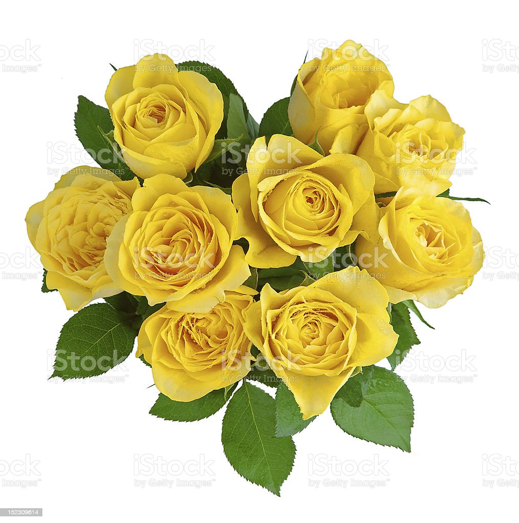 Overhead view of bouquet of yellow roses stock photo