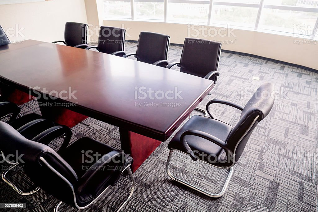 Overhead view of business conference room table in office - foto stock