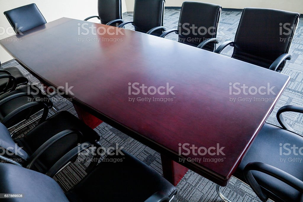 Overhead view of business conference room table in office