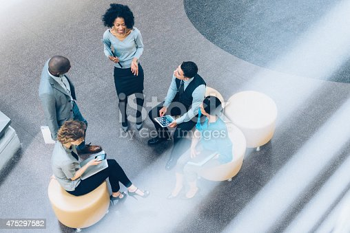 istock Overhead view of business people in a meeting 475297582