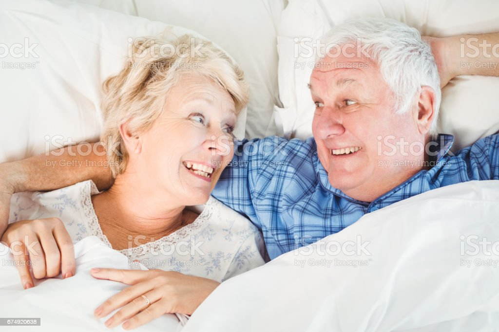 Overhead view of cheerful couple royalty-free stock photo
