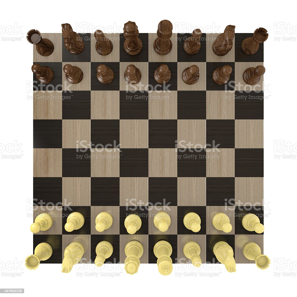 Overhead View Of Chess Board Set Up For A Game Stock Photo More
