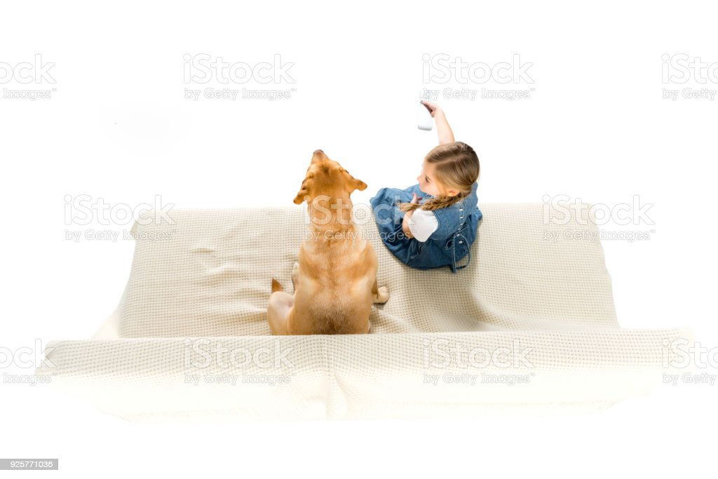overhead view of child and dog watching tv on sofa, isolated on white stock photo
