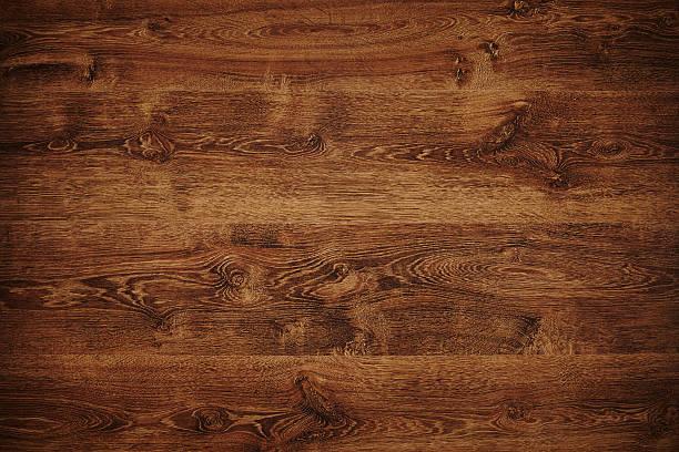 Overhead Blick auf dunklen braunen Holztisch – Foto