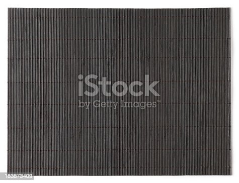 Black bamboo mat on white. This file is cleaned, retouched and contains