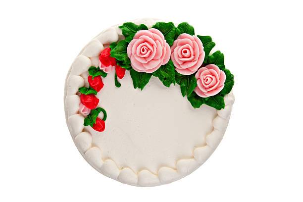 blickwinkel von dekorierten kuchen - rosentorte stock-fotos und bilder