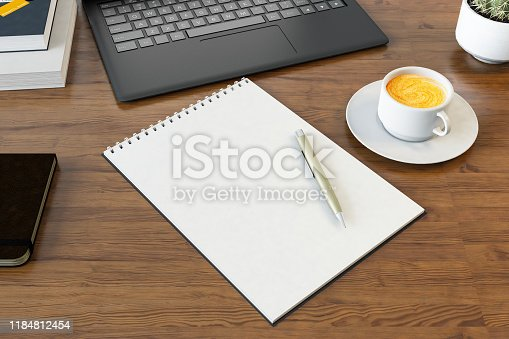 Overhead View of Desk with Empty Notepaper and Laptop. 3d Render