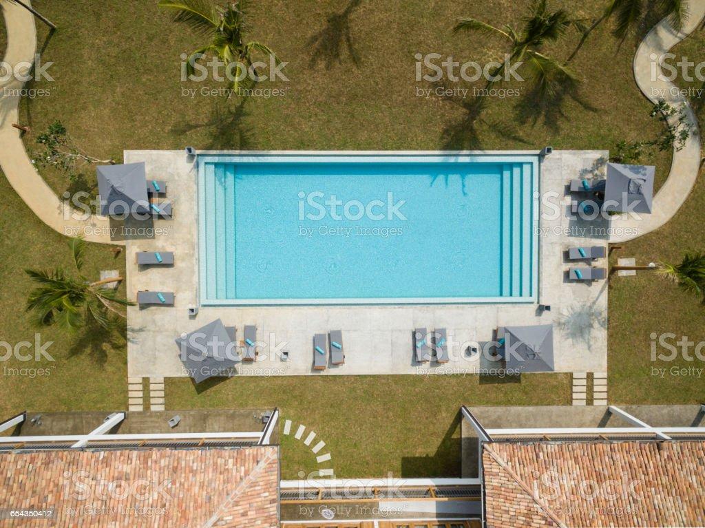 Overhead view of empty swimming pool stock photo