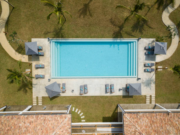 Overhead View Of Empty Swimming Pool Stock Photo
