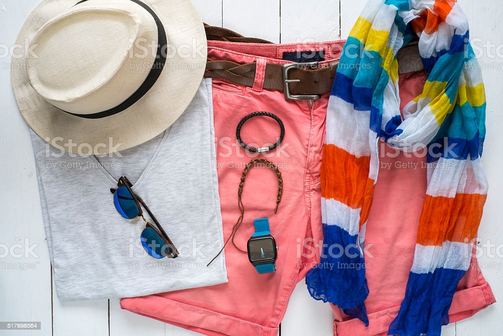 Overhead view of essentials casual travel outfit for man stock photo