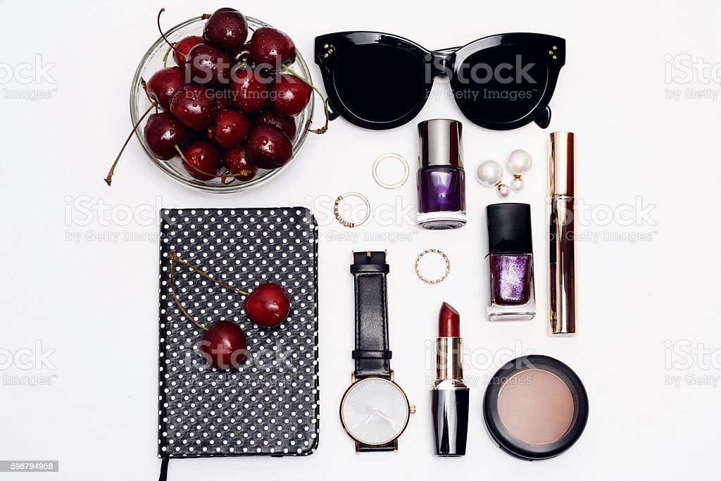 Overhead view of female beauty accessories. stock photo