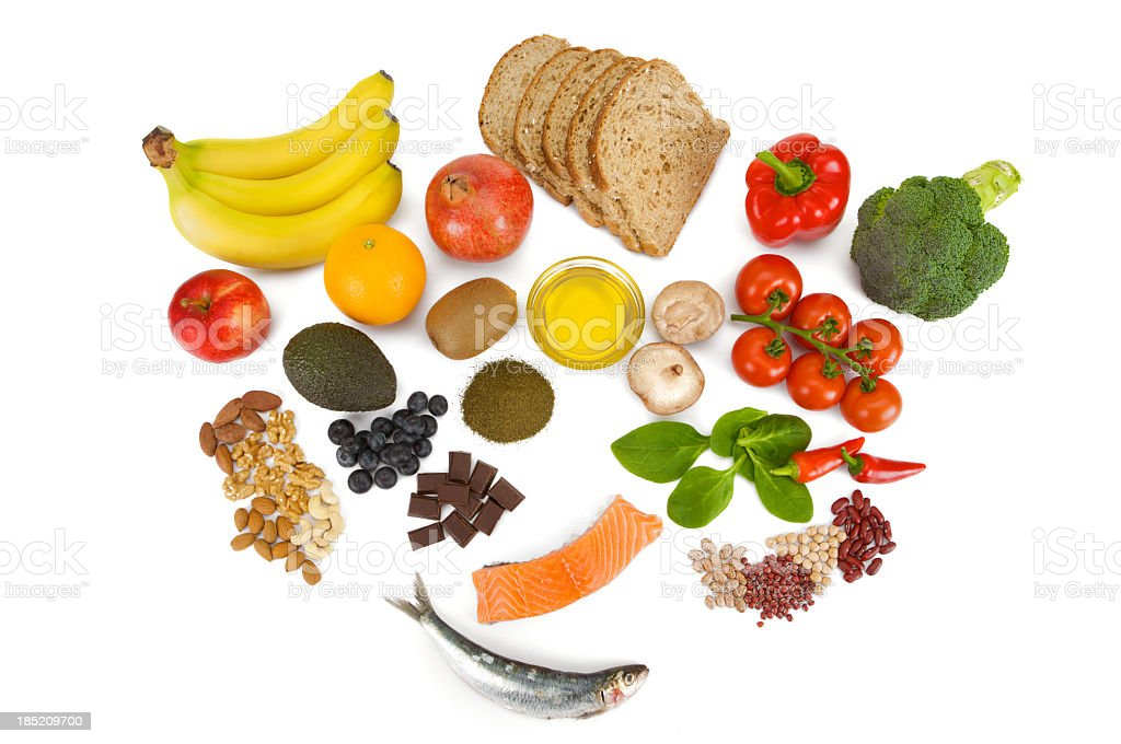 Overhead view of fresh food groups collectively known as Superfoods stock photo
