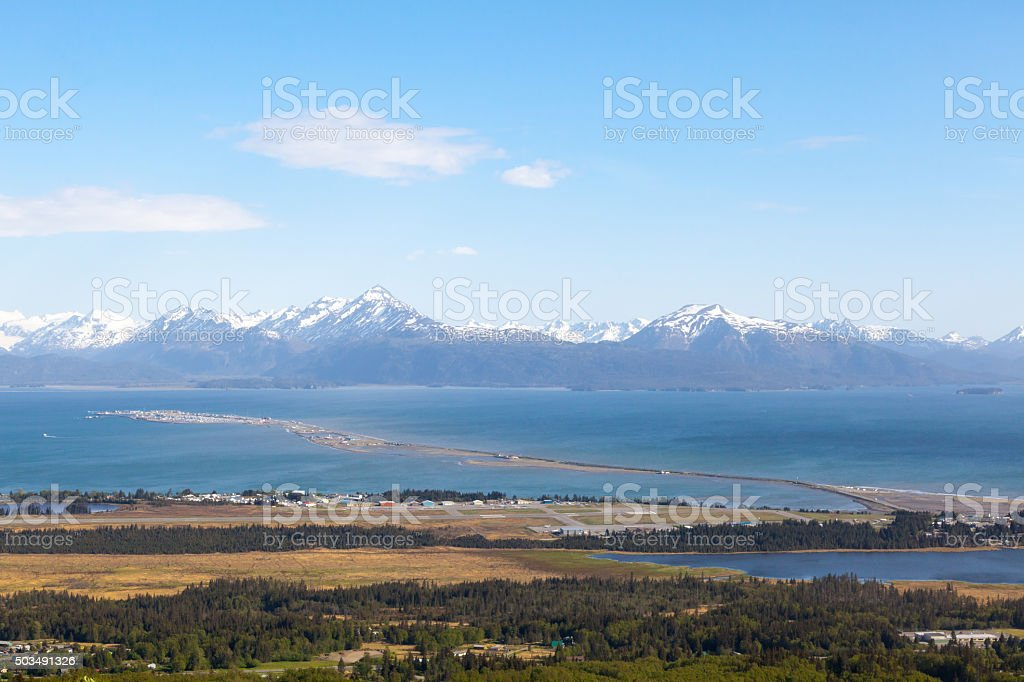 Overhead View of Homer, Alaska stock photo