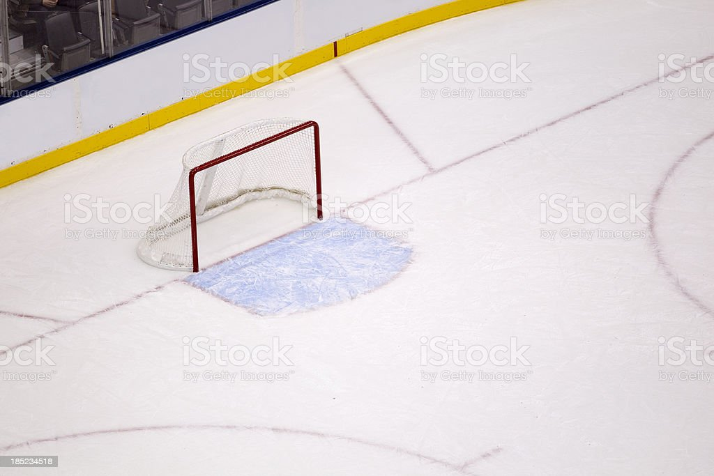 Overhead view of ice hockey net in an arena royalty-free stock photo