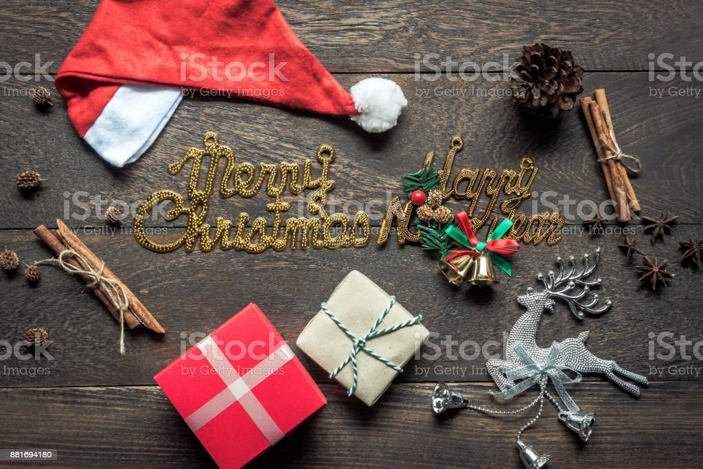 overhead view of image decorations ornaments merry christmas happy new year background concept