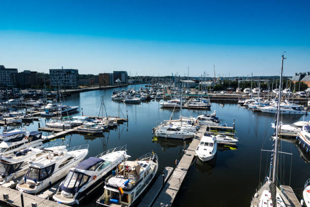 Overhead view of Ipswich harbour in Suffolk England stock photo
