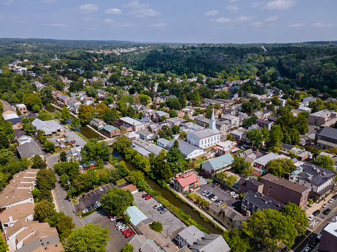 Overhead view Lambertville New Jersey USA the small town residential suburban area with bridge across the river in the historic city New Hope Pennsylvania US