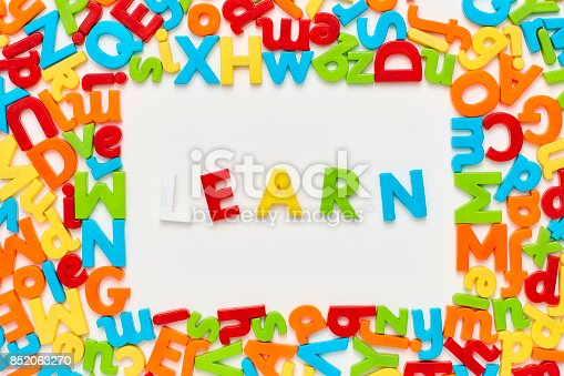 849181972istockphoto Overhead view of learn text amidst alphabets on white background 852063270