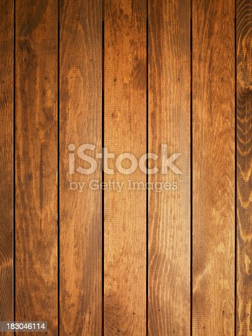 istock Overhead view of light brown wooden table 183046114