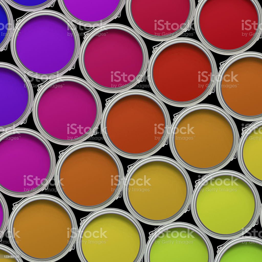 overhead view of may colorful paint cans XXL royalty-free stock photo