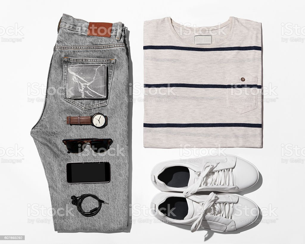 Overhead view of men's casual outfits, Outfits of traveler, male - Photo