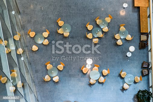 istock Overhead view of modern office meeting area 466434632