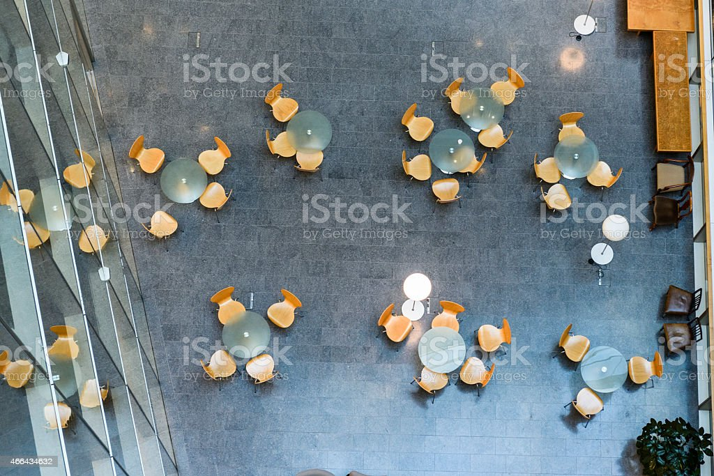 Overhead view of modern office meeting area stock photo