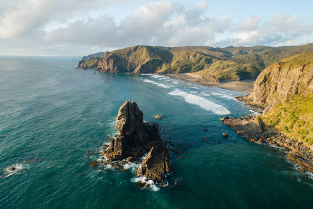 Overhead view of New Zealand Coastline. stock photo