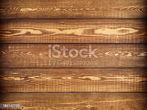 istock Overhead view of old dark brown wooden table 184142733