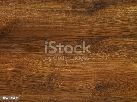 istock Overhead view of old dark brown wooden table 184993497