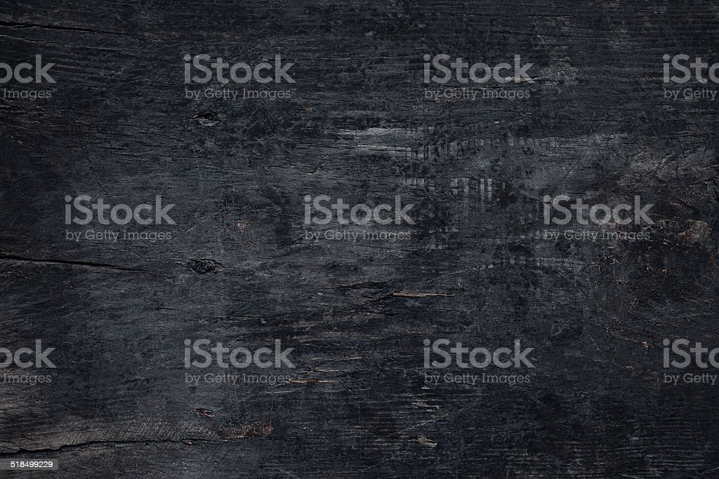 Overhead view of old dark wooden table stock photo