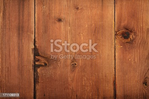 istock Overhead view of old light brown wooden table 171109313