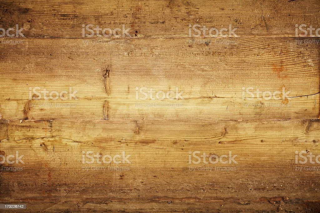 Overhead view of old light brown wooden table stock photo