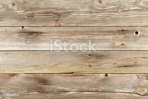 istock Overhead view of old light brown wooden table 173534914