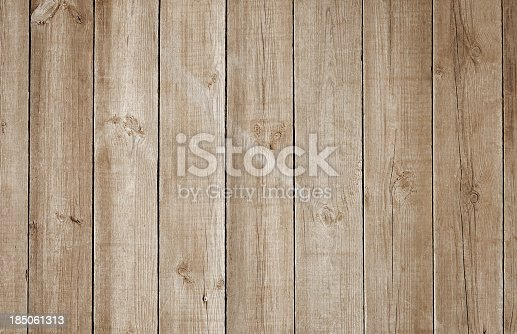 istock Overhead view of old light brown wooden table 185061313