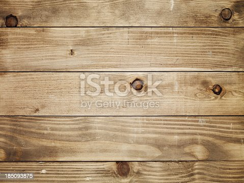 istock Overhead view of old light brown wooden table 185093875
