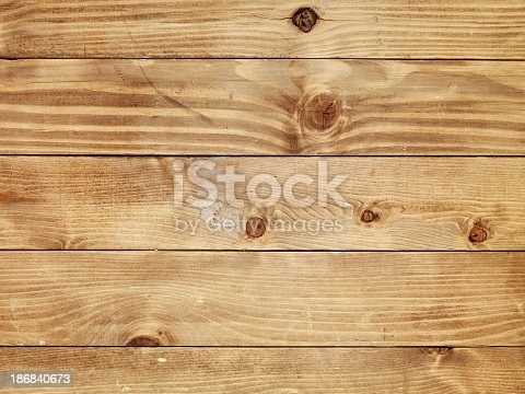 istock Overhead view of old light brown wooden table 186840673