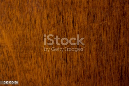 istock Overhead view of old warm  dark brown wooden table 1095150428